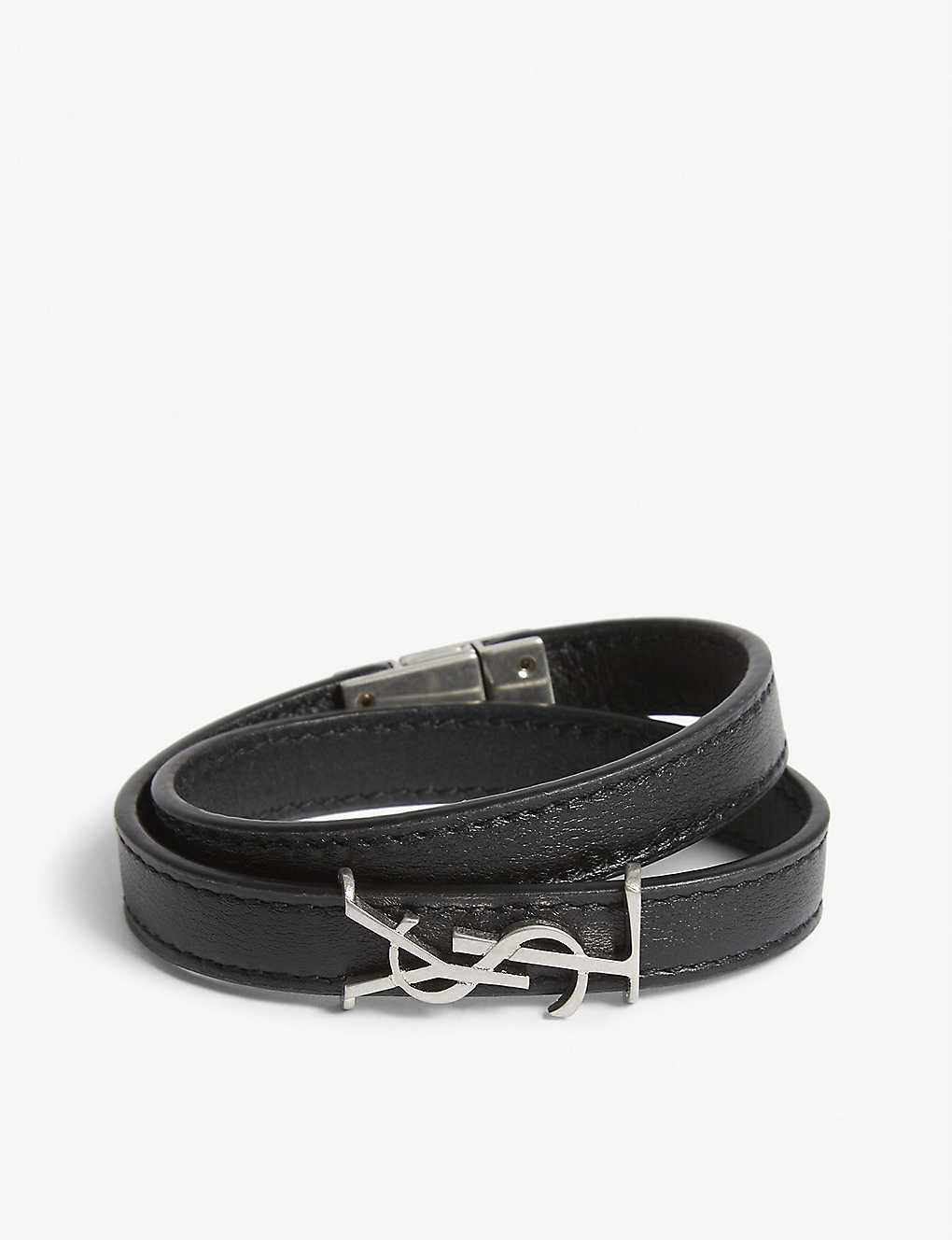SAINT LAURENT: Logo leather wrap bracelet
