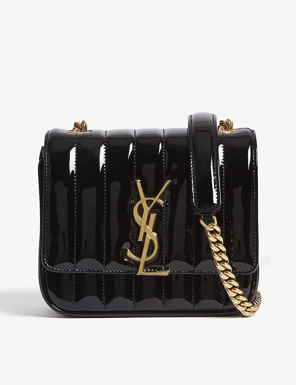 907c6207751 SAINT LAURENT - Monogram Vicky small patent leather cross-body bag ...