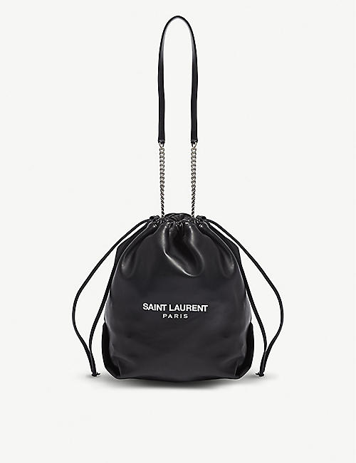 SAINT LAURENT: Teddy leather bucket bag