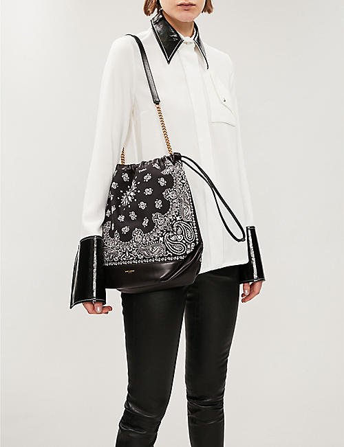 SAINT LAURENT Teddy bandana print bucket bag
