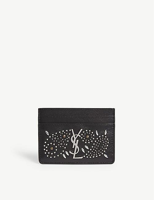 df00fbd2cd4 SAINT LAURENT Monogram studded leather card holder