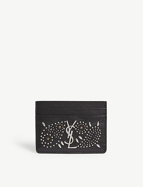 SAINT LAURENT Monogram studded leather card holder