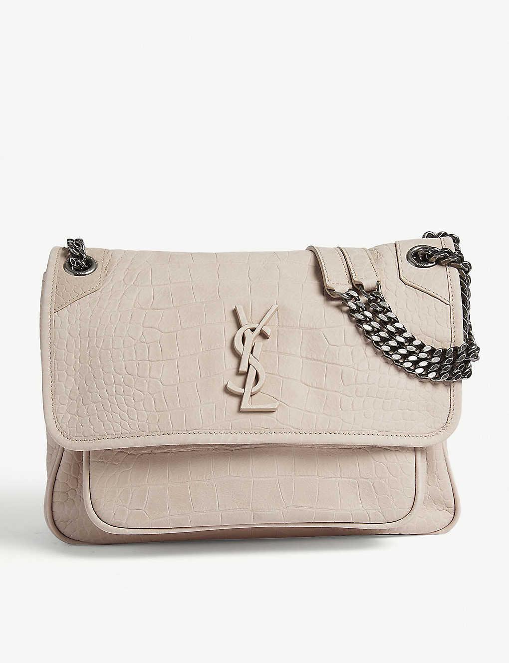 fe1b4bfb822 SAINT LAURENT - Niki croc-embossed shoulder bag | Selfridges.com