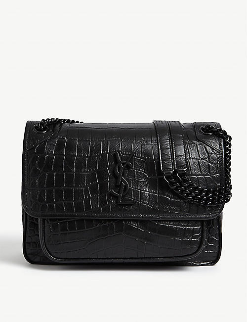 SAINT LAURENT: Niki Monogram logo croc-embossed leather shoulder bag
