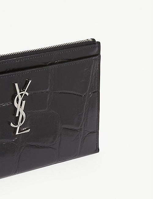 SAINT LAURENT Monogram croc-embossed leather pouch