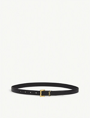 SAINT LAURENT Monogram logo leather belt