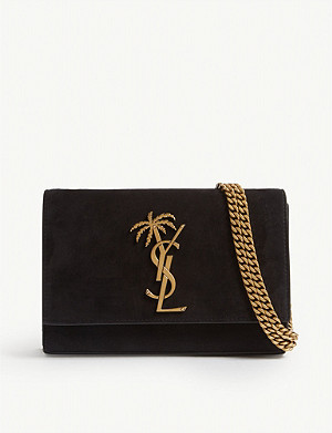 SAINT LAURENT Kate palm tree monogram suede cross-body bag