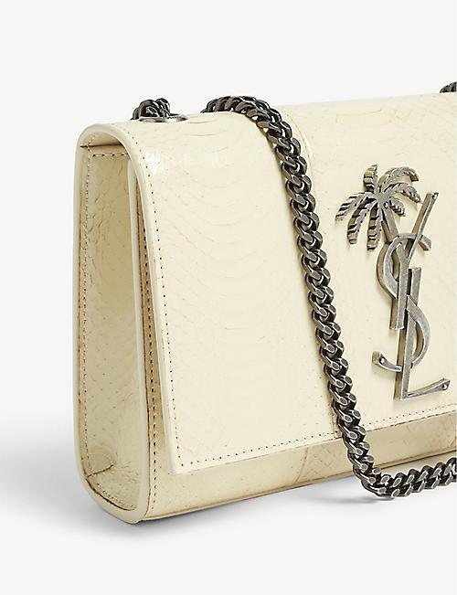 2cc414c5b714 SAINT LAURENT Kate palm logo python-emossed leather cross-body bag