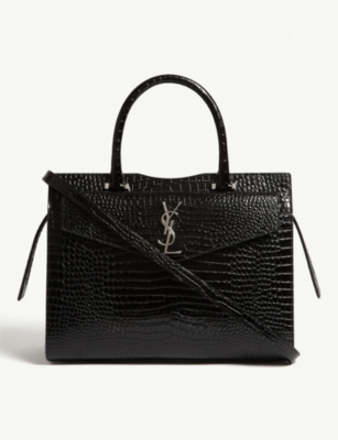 SAINT LAURENT Croc-effect Uptown tote