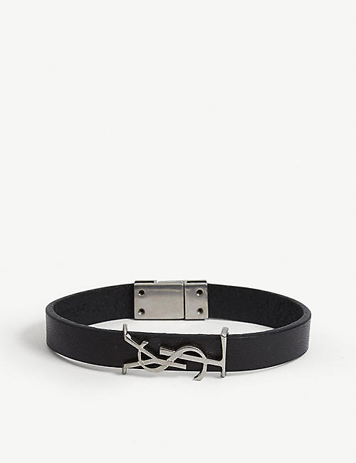 SAINT LAURENT: Logo-plaque leather bracelet