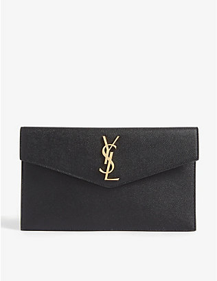 SAINT LAURENT: Uptown monogram leather envelope pouch