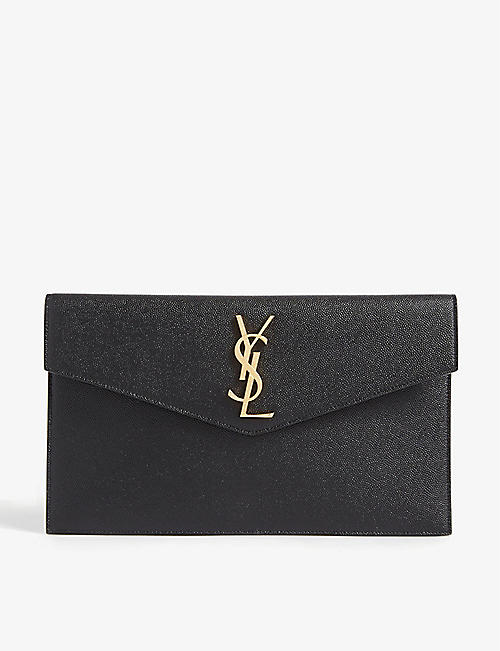 SAINT LAURENT Uptown leather envelope pouch