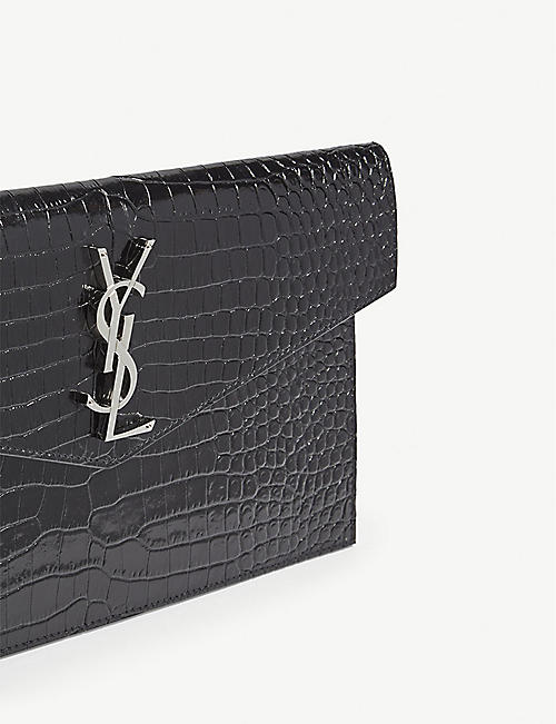 SAINT LAURENT Monogram Uptown croc-embossed leather pouch