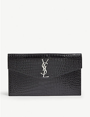 SAINT LAURENT: Monogram Uptown croc-embossed leather pouch