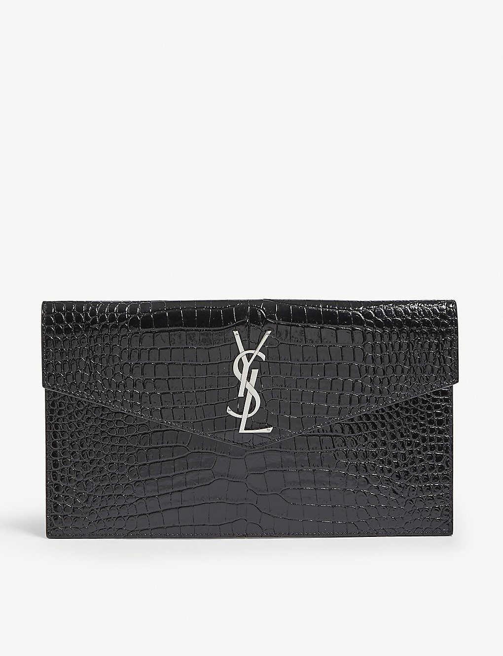 4f8efb2a44124 SAINT LAURENT - Monogram Uptown croc-embossed leather pouch ...