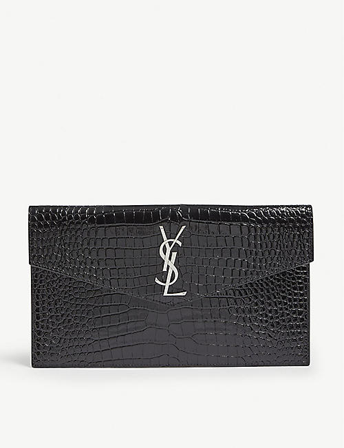 SAINT LAURENT: Uptown croc-embossed leather pouch