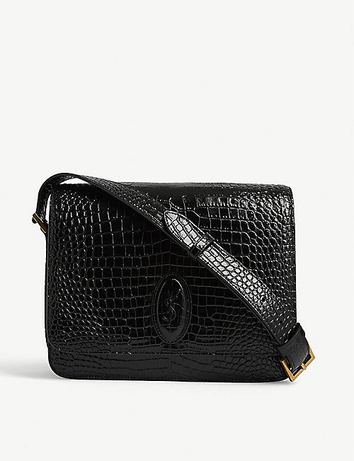 SAINT LAURENT: Besace croc-embossed leather shoulder bag