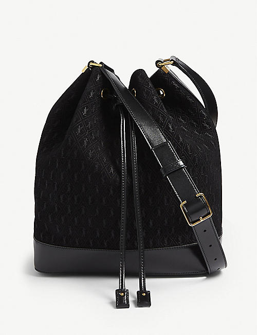 SAINT LAURENT Suede logo print bucket bag