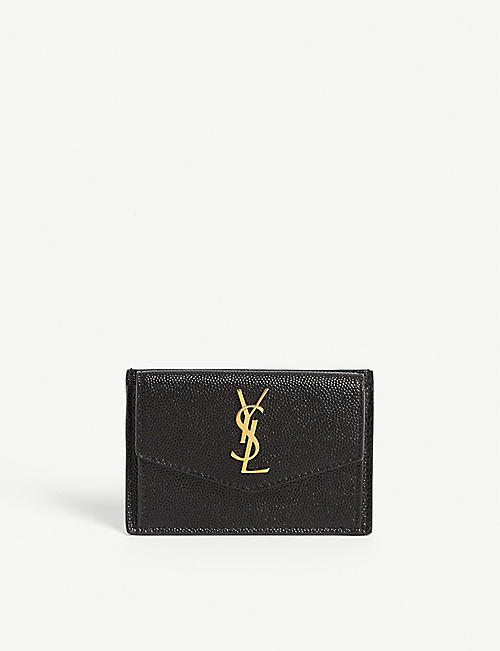 SAINT LAURENT: Logo leather flap wallet