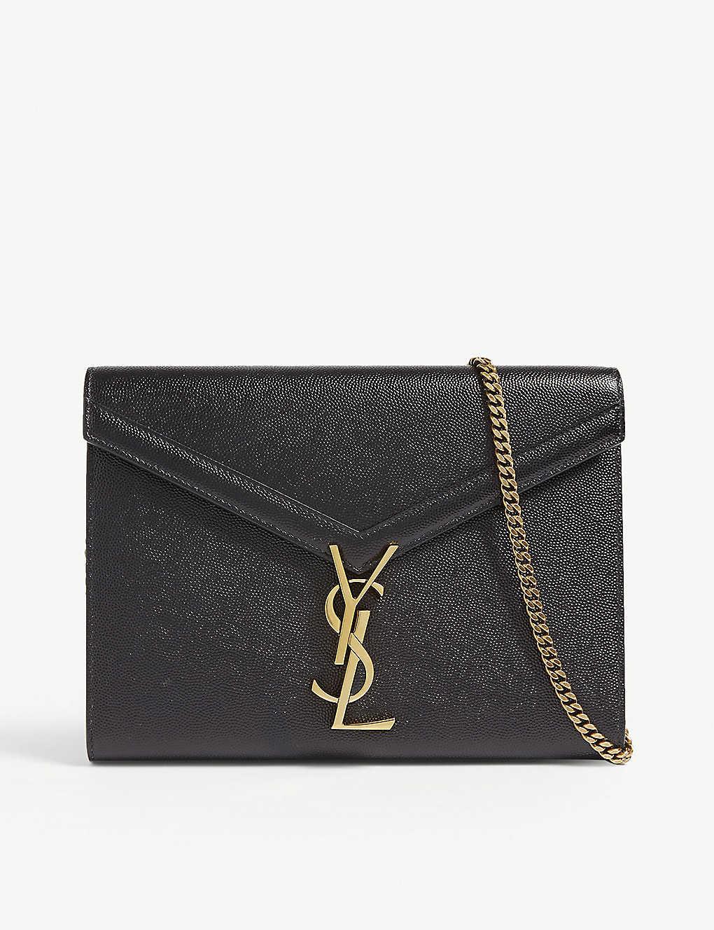13c5862fa18bc SAINT LAURENT - Cassandra grained leather wallet-on-chain ...
