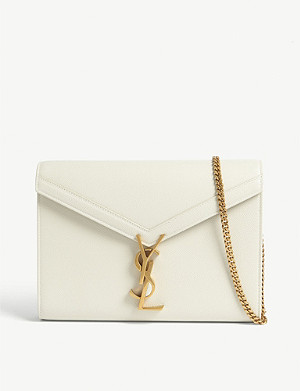 SAINT LAURENT Cassandra grained leather wallet-on-chain