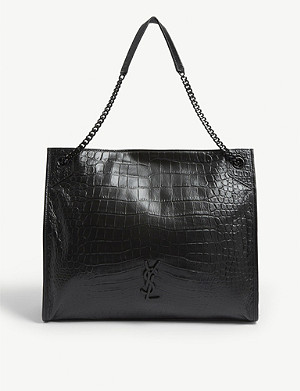 SAINT LAURENT Niki large croc-embossed leather shopper