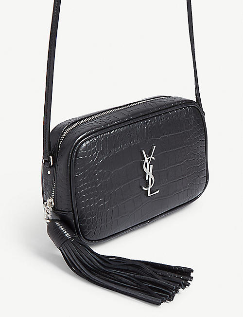 SAINT LAURENT Croc-embossed Lou shoulder bag