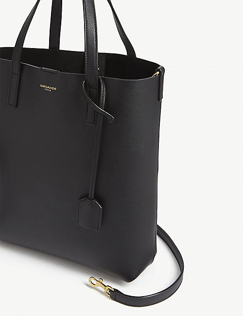 SAINT LAURENT Foil logo leather mini tote