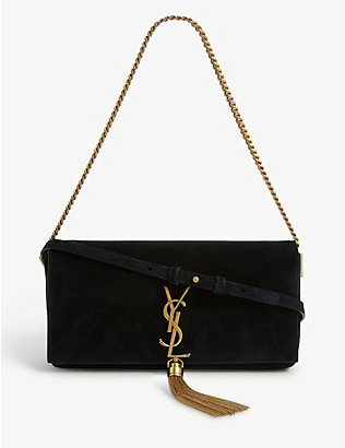 SAINT LAURENT: Kate monogram suede baguette bag