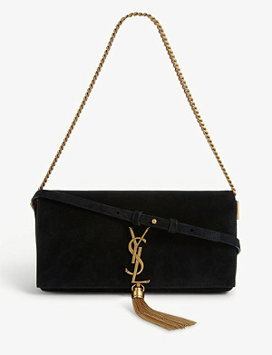 SAINT LAURENT Kate monogram suede baguette bag
