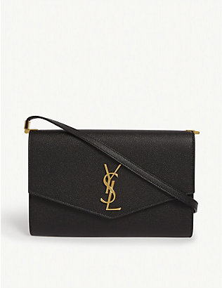 SAINT LAURENT: Uptown grained leather cross-body bag