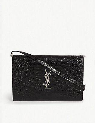 SAINT LAURENT: Uptown monogram croc-embossed leather wallet-on-chain