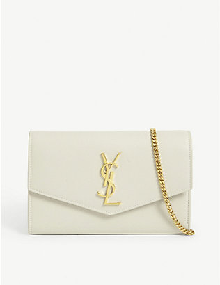 SAINT LAURENT: Uptown leather wallet-on-chain