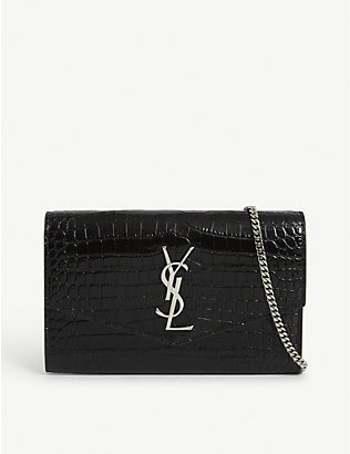 SAINT LAURENT: Uptown croc-embossed cross-body bag
