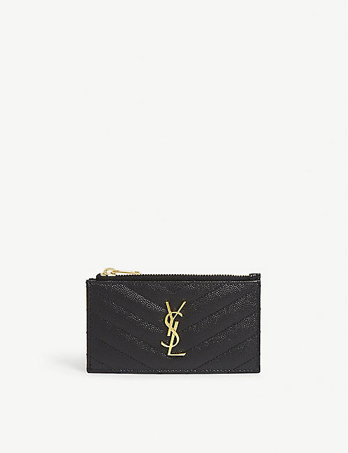 SAINT LAURENT: Monogram leather card holder