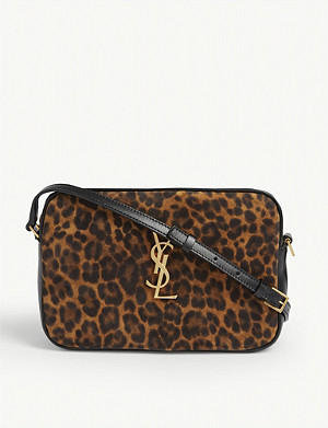 SAINT LAURENT Lou leopard spot leather camera bag