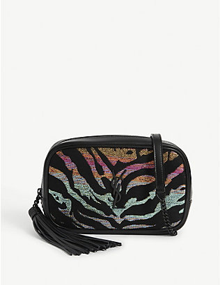 SAINT LAURENT: Animal print metallic Lou cross-body bag
