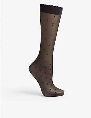 FALKE: Polka dot knee-high knitted socks