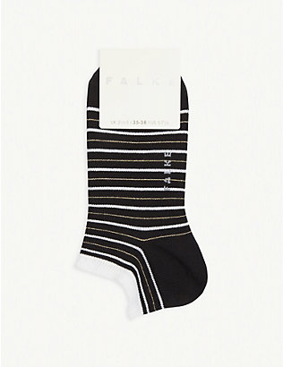 FALKE: Glitter stripe cotton-blend trainer socks
