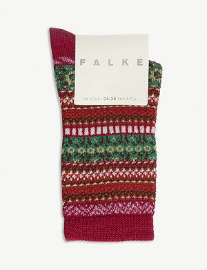 FALKE Fair Isle pattern wool-blend socks