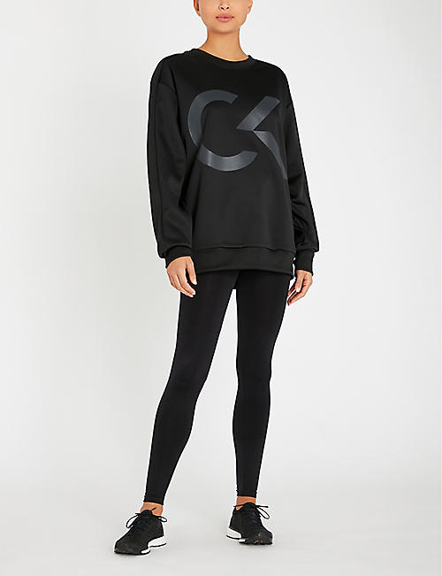 CALVIN KLEIN Logo-waist high-waist stretch-jersey leggings