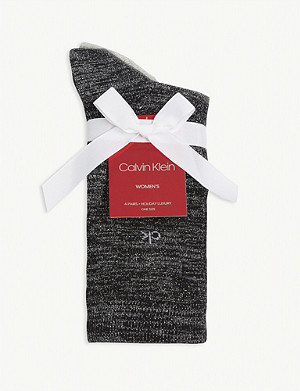CALVIN KLEIN Sparkle cotton-blend socks set of four
