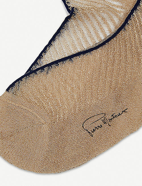 PIERRE MANTOUX Andy metallic-knitted ankle socks