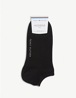 TOMMY HILFIGER: Logo-embroidered cotton ankle socks pack of two