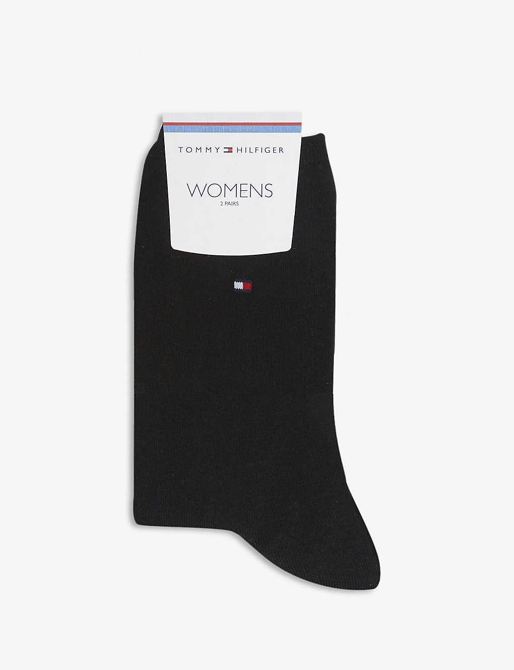 TOMMY HILFIGER: Logo-embroidered casual cotton-blend socks pack of two