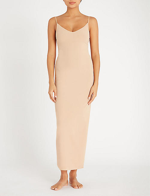 COMMANDO Scoop-neck microfibre maxi slip dress