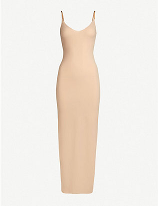 COMMANDO: Scoop-neck microfibre maxi slip dress