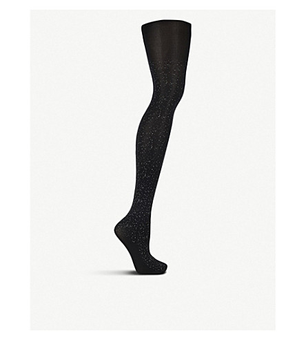 a09f042a2 WOLFORD Luna woven tights (Black+silver
