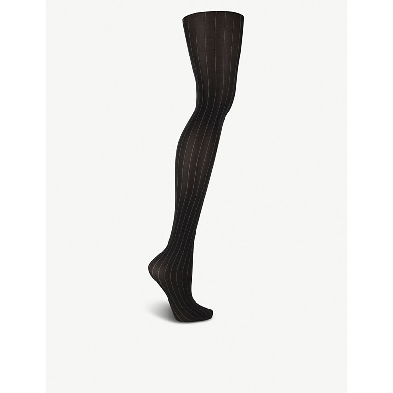 Muriel Woven Pinstripe Tights in Black White