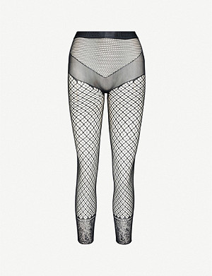 WOLFORD Isabella fishnet stretch-woven leggings